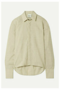 A.W.A.K.E. MODE - Business Woman Oversized Slub Wool Shirt - Beige