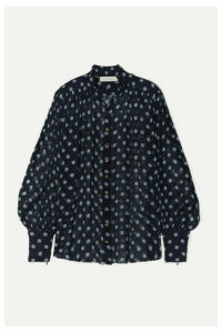 Zimmermann - Sabotage Lantern Polka-dot Silk-crepon Blouse - Navy