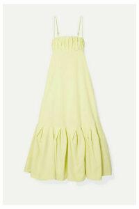 Rosie Assoulin - Cami Gathered Cotton-poplin Midi Dress - Pastel yellow