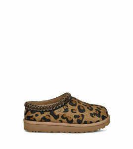 UGG Women's Tasman Leopard Slipper in Amphora Brown, Size 7, Leather