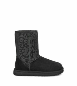 UGG Classic Short Sparkle Graffiti Boot Womens Boots Black 9