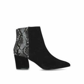 Steve Madden Missie - Black Snake Print Block Heel Ankle Boots