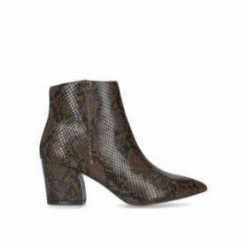 Steve Madden Missie - Brown Snake Print Block Heel Ankle Boots