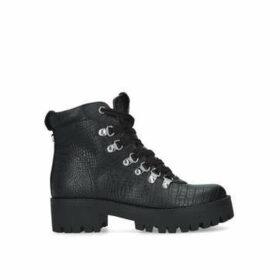Steve Madden Bam - Black Lace Up Biker Boots