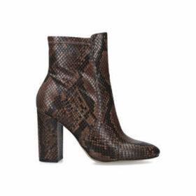 Aldo Aurella 95 - Brown Snake Print Block Heel Ankle Boots