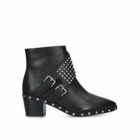Kurt Geiger London Seth Ankle Boot - Black Studded Block Heel Ankle Boots