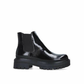 Steve Madden Liv - Black Patent Effect Chunky Ankle Boots