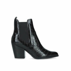 Steve Madden Patricia - Black Croc Effect Block Heel Ankle Boots