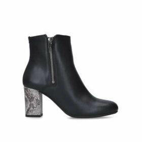 Carvela Comfort Rail - Black Ankle Boots With Snake Print Heel