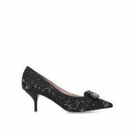 Kurt Geiger London Pia Jewel - Black Tweed Mid Heel Court Shoes