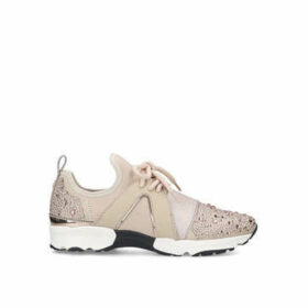 Carvela Lament Bling - Nude Embellished Lace Up Trainers