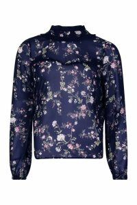 Womens Ruffle Floral Print Blouse - navy - M, Navy