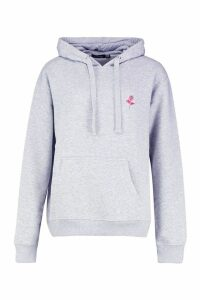 Womens Rose Pocket Embroidered Oversized Hoodie - Grey - 10, Grey