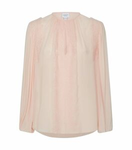 Lace-Trim Silk Chiffon Top
