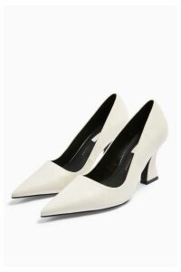 Womens Golden Leather White Flared Heel Shoes - White, White