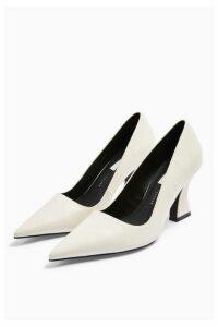 Womens Golden White Flared Heel Shoes - White, White