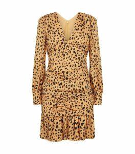 Silk Cheetah Print Mini Dress