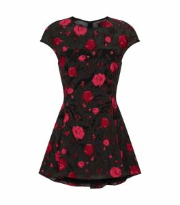 Embroidered Rose Peplum Blouse