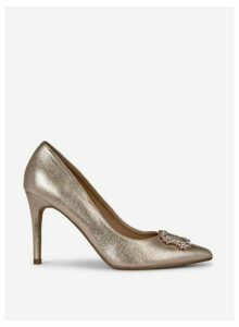 Womens **Showcase Wide Fit Gold 'Glad' Court Shoes, Gold