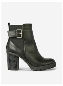 Womens Black 'Ally' Cleated Sole Boots, Black