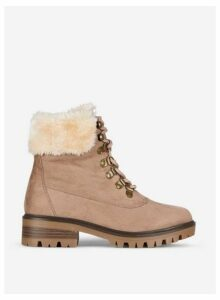 Womens Taupe 'Millie' Faux Fur Hiker Boots- Taupe, Taupe
