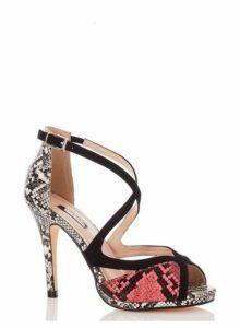 Womens *Quiz Multi Coloured Snake Print Strappy Heeled Sandals- Black, Black