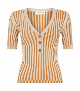 Stripe Ribbed Henley Top