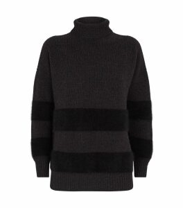 Angora-Wool Stripe Sweater