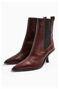 Womens Madrid Leather Chelsea Boots - Burgandy, Burgandy