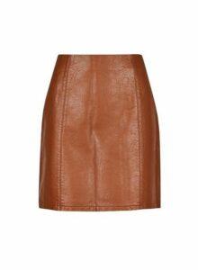Womens Tan Seam Pu Mini Skirt - Brown, Brown