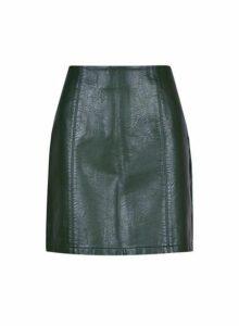 Womens Khaki Seam Pu Mini Skirt, Khaki