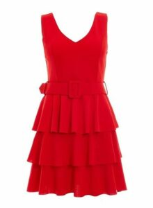 Womens *Quiz Red Layered Ra-Ra Belted Dress- Red, Red