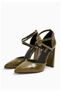 Womens Grape Flare Heeled Shoes - Olive, Olive