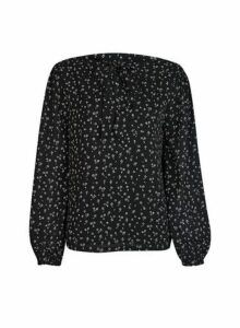 Womens **Only Black Floral Print Top, Black