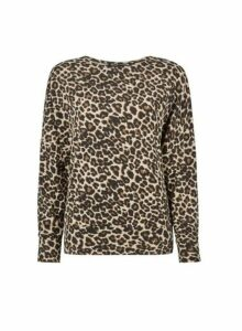Womens Neutral Leopard Print Brushed Jumper, Leopard