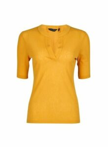 Womens Yellow Nehru Collar Half Sleeve Top- Orange, Orange
