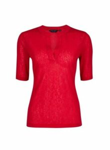 Womens Berry Nehru Collar Half Sleeve Top- Red, Red
