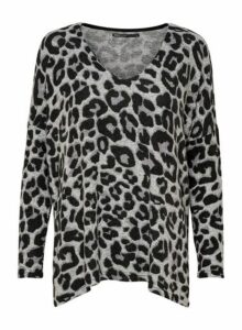 Womens **Only Grey Leopard Print Jumper, Grey