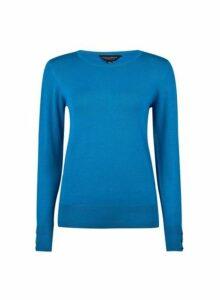 Womens Turquoise Button Cuff Crew Neck Jumper- Blue, Blue