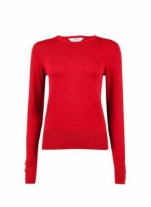 Womens Petite Red Button Detail Jumpers, Red