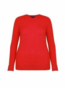 Womens **Dp Curve Red Button Cuff Jumper- Red, Red
