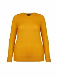 Womens **Dp Curve Yellow Button Cuff Jumper- Yellow, Yellow