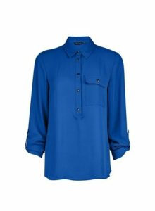 Womens Cobalt Roll Sleeve Shirt- Blue, Blue