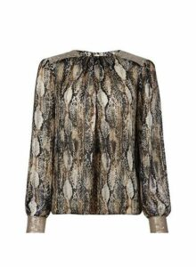 Womens Multi Coloured Snake Print Sequin Top- Multi Colour, Multi Colour