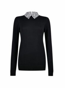 Womens **Tall Black 2 In 1 Jumper With Printed Collar, Black