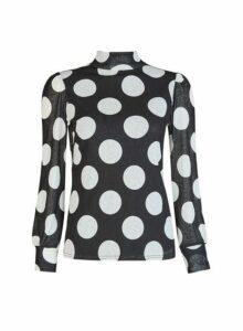 Womens Black Spot Print Mesh Roll Neck Top, Black