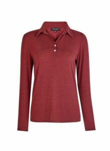 Womens Oxblood Long Sleeve Polo Top- Red, Red