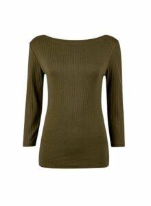 Womens Organic Khaki Ribbed Boat Neck Cotton T-Shirt, Khaki