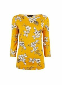 Womens Yellow Floral Print 3/4 Sleeve Cotton T-Shirt, Yellow
