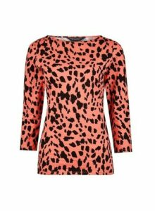 Womens Coral Leopard Print Cotton T-Shirt, Coral